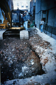 Allen Street lot during excavation
